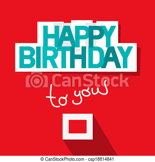 Happy Birthday Template on Red Background - csp18814841