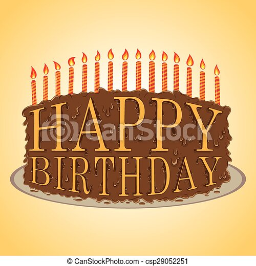 Happy birthday text cake Vector handdrawn illustration of