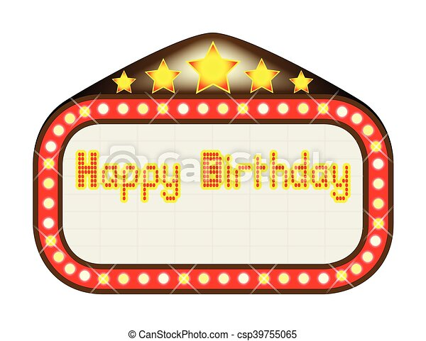 happy birthday theatre marquee a happy birthday movie clip art rh canstockphoto com clipart marquee sign broadway marquee clipart
