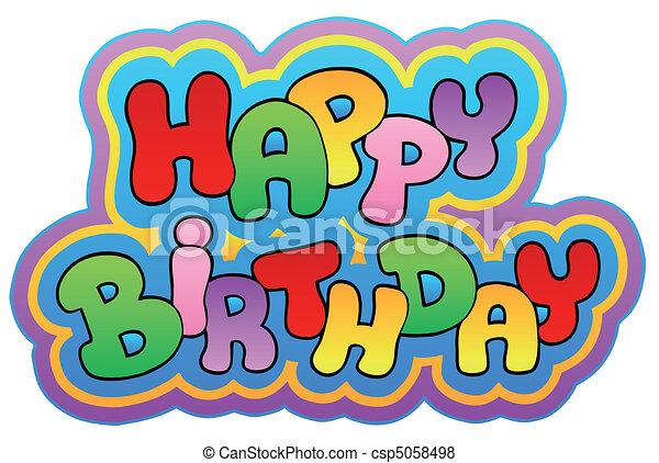 happy birthday theme 1 vector illustration rh canstockphoto com happy birthday logos for guys happy birthday logos for facebook