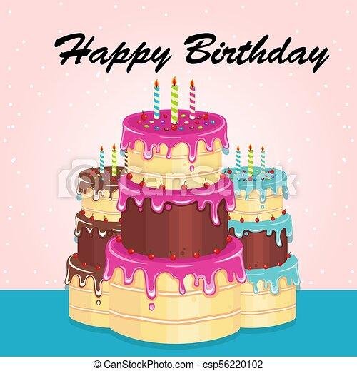 Happy Birthday Three Cake Background Vector Image