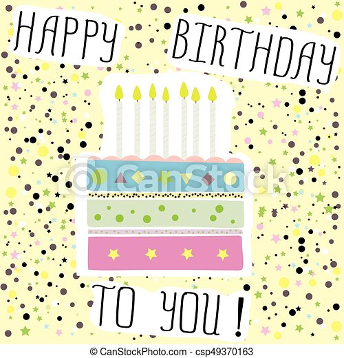Happy Birthday To You Cute Card With Cakecandles