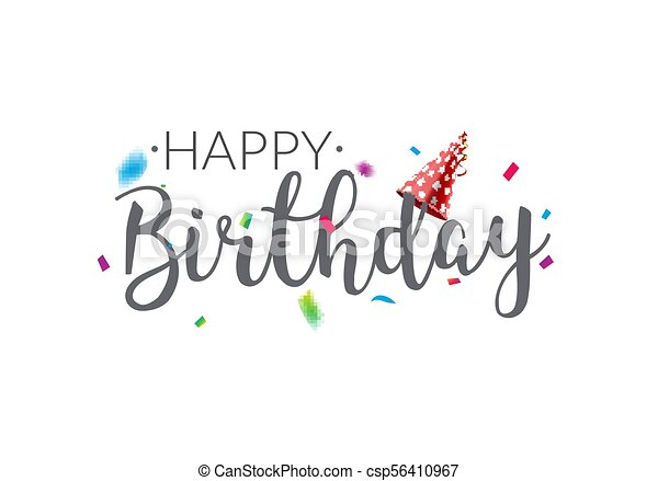 Happy Birthday Typography Vector Design Template Poster Greeting