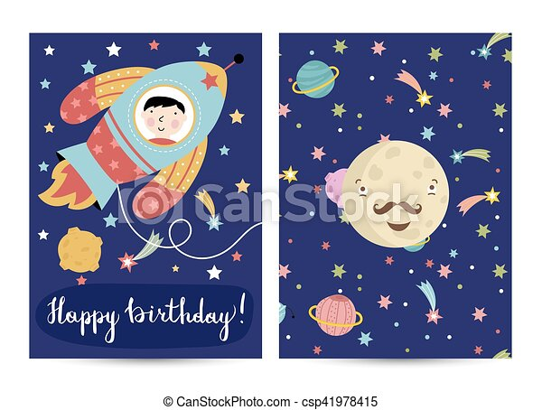 Happy Birthday Vector Cartoon Greeting Card Happy Birthday Cartoon