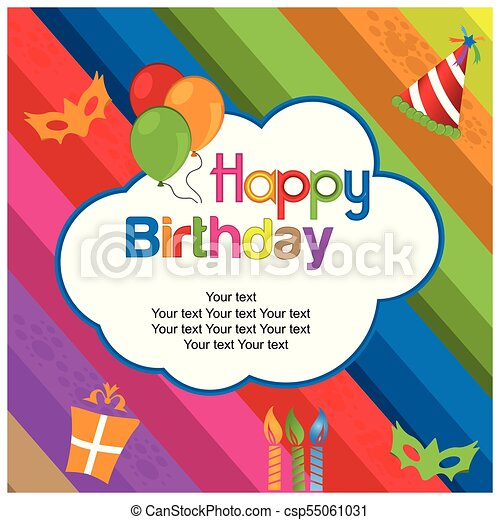 Happy birthday vector design with colorful background