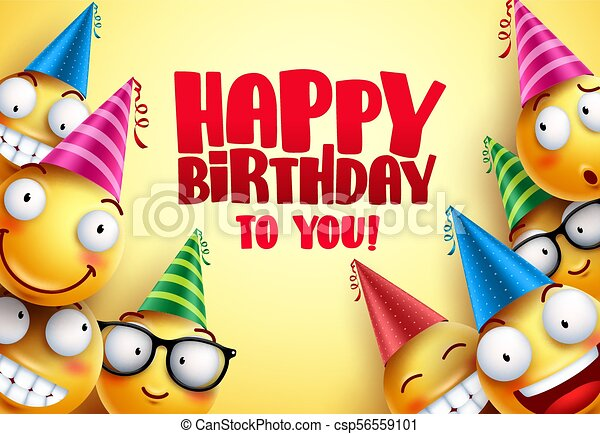 Happy birthday vector smileys greetings design with funny and happy happy birthday vector smileys greetings design with funny and happy yellow emoticons wearing colorful party hats in yellow background smileys vector m4hsunfo