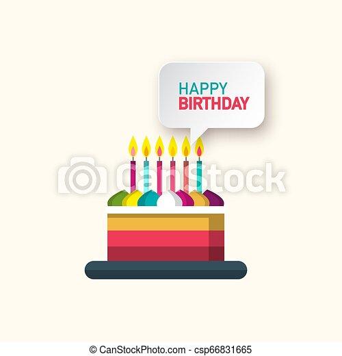 Happy Birthday Vector Symbol with Cake and Speech Bubble - csp66831665