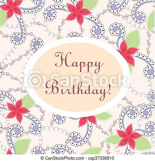 Happy Birthday Vintage Card Vector Happy Birthday Vintage Card