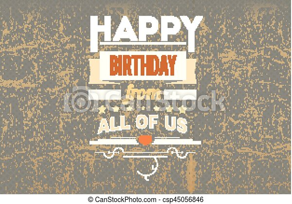 Happy Birthday Vintage Poster Grunge Happy Birthday Typography