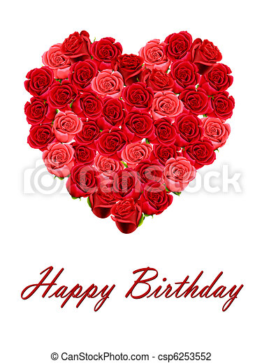 Happy Birthday With Heart Of Roses