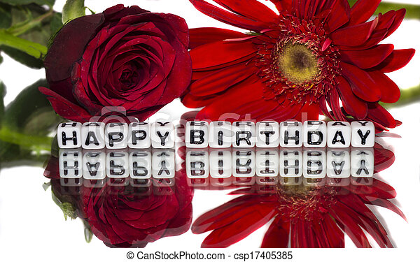Happy Birthday With Red Flowers The Message With Letters And Card