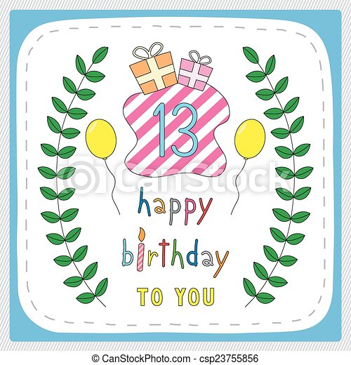 Happy birthday13 happy birthday card with 13th birthday and happy birthday card with 13th birthday and for 13 years anniversary celebration bookmarktalkfo Image collections