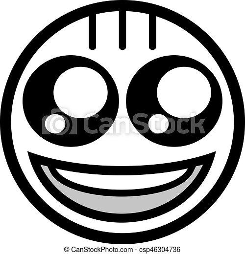 happy black face flat icon - csp46304736