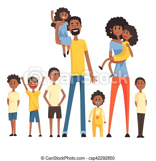 happy black family with many children portrait with all the kids and rh canstockphoto com black family reunion clipart black church family clipart
