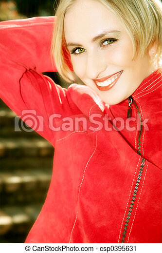 Happy blond in red - csp0395631