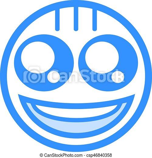 happy blue face flat icon - csp46840358