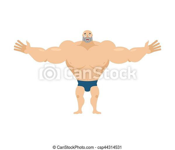 Happy bodybuilder. merry sportsman. Glad Athlete isolated. fitness guy - csp44314531