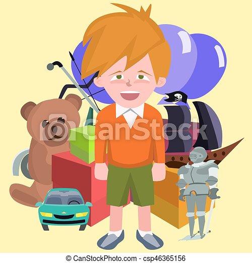 Happy Boy Against Pile Of Children S Gifts Vector Cartoon Happy Boy
