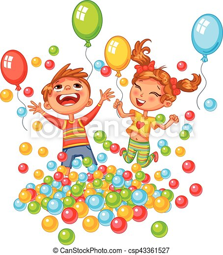 Happy boy and girl playing with colorful balls at playground - csp43361527
