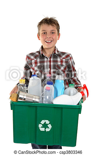 Happy boy carrying rubbish for recycling - csp3803346