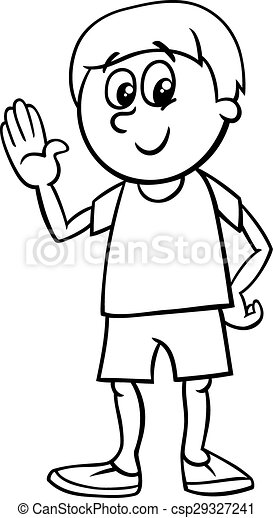 Happy Boy Cartoon Coloring Page