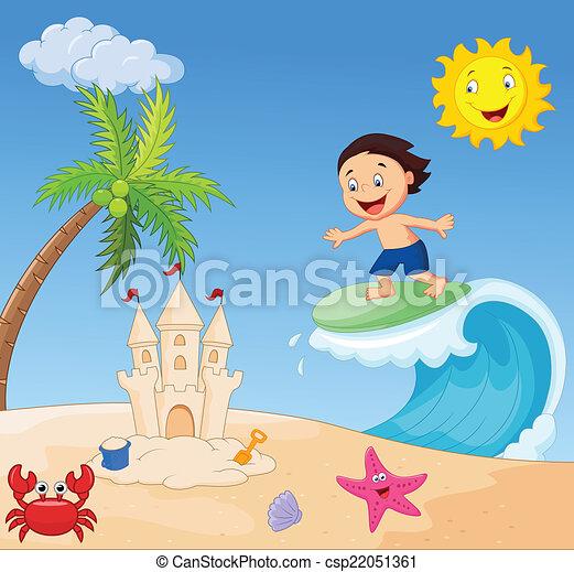 Happy boy cartoon surfing - csp22051361