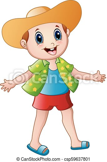 Vector illustration of happy boy cartoon with summer clothes and a hat. f2308bafed50