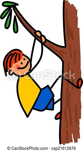 Happy Boy Climbing Tree Whimsical Cartoon Illustration Of A Happy Little Boy Climbing A Tree Canstock Kids climbing trees clip art girls climbing trees art children child. https www canstockphoto com happy boy climbing tree 21612676 html