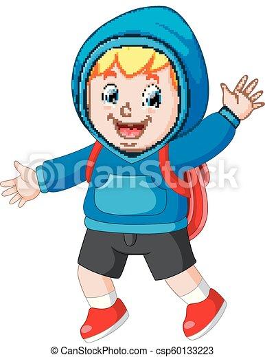 happy boy going to school - csp60133223
