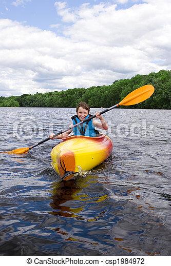 Happy boy kayaking - csp1984972