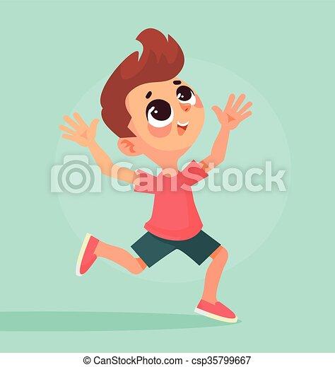 Happy boy running - csp35799667
