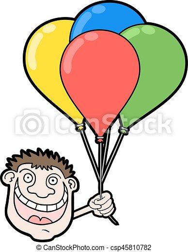 happy boy with color balloons - csp45810782