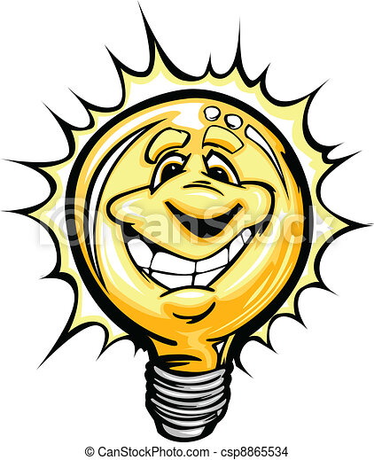 Happy Bright Idea Light Bulb Cartoo - csp8865534