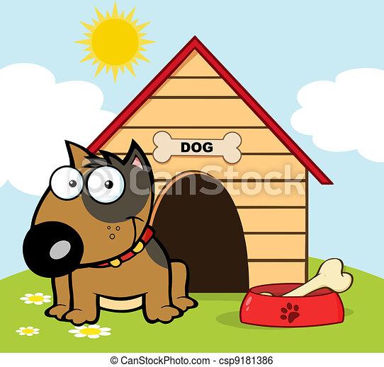 Happy Brown Bull Terrier Sitting By - csp9181386