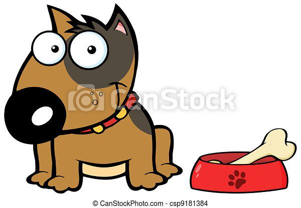 Happy Brown Bull Terrier Sitting - csp9181384