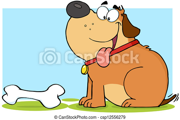 Happy Brown Fat Dog With Bone - csp12556279
