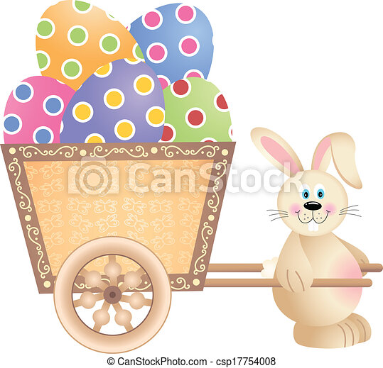 Happy Bunny Pushing Easter Cart  - csp17754008