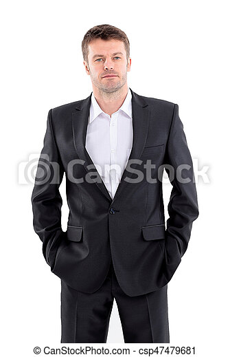 Happy business man on an isolated background - csp47479681