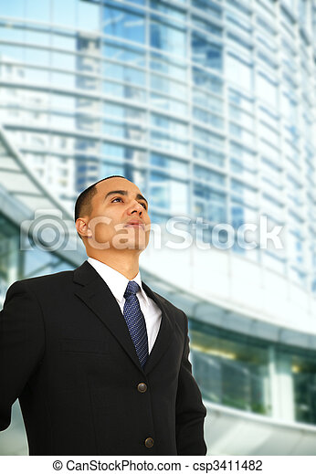 Happy Business Man Outside Building - csp3411482