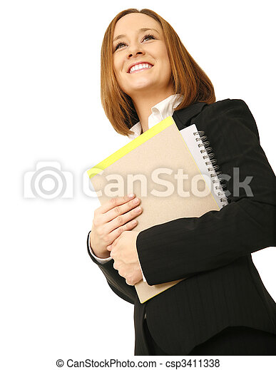 Happy Business Woman Carrying Files - csp3411338