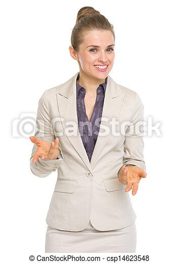 Happy business woman explaining something - csp14623548