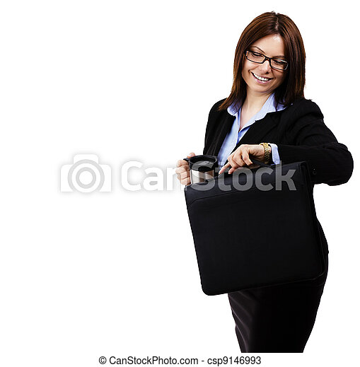 happy business woman looking at her watch on white background - csp9146993
