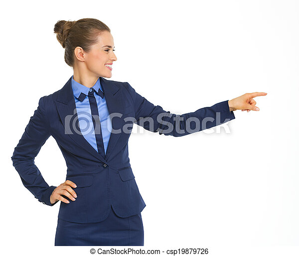 Happy business woman pointing on copy space - csp19879726