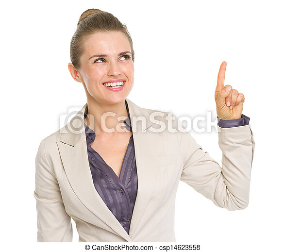 Happy business woman pointing up on copy space - csp14623558