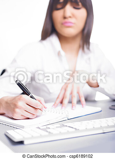 Happy Business Woman Writing - csp6189102