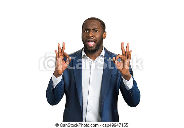 happy businessman approving good job ok hand gesture of cheerful
