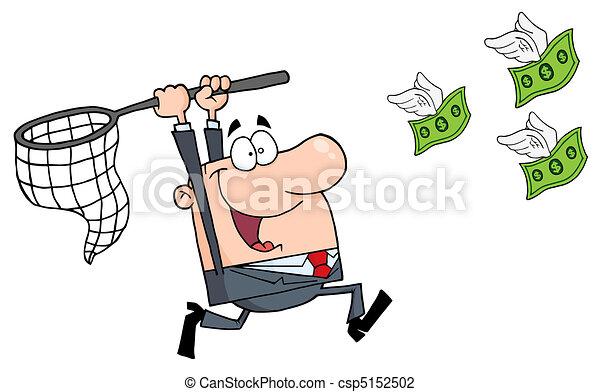 Happy Businessman Chasing Money - csp5152502