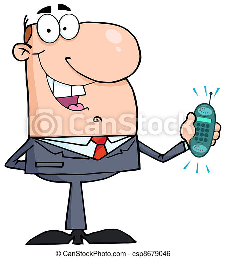 happy businessman caucasian businessman holding a ringing cell phone rh canstockphoto com