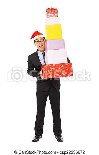 happy businessman holding gift boxes . isolated on white - csp22236672
