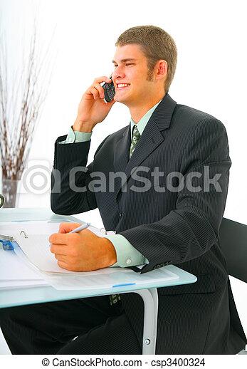 Happy Businessman On The Phone - csp3400324